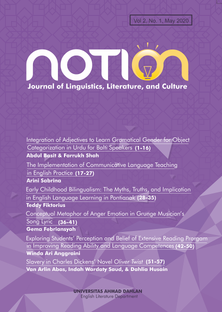 notion; journal linguistics literature and culture uad